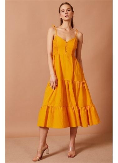 Never More Büzgülü Askılı Elbise Sarı